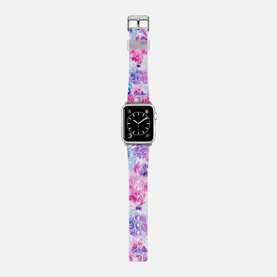 Pink teal watercolor hand painted floral pattern -