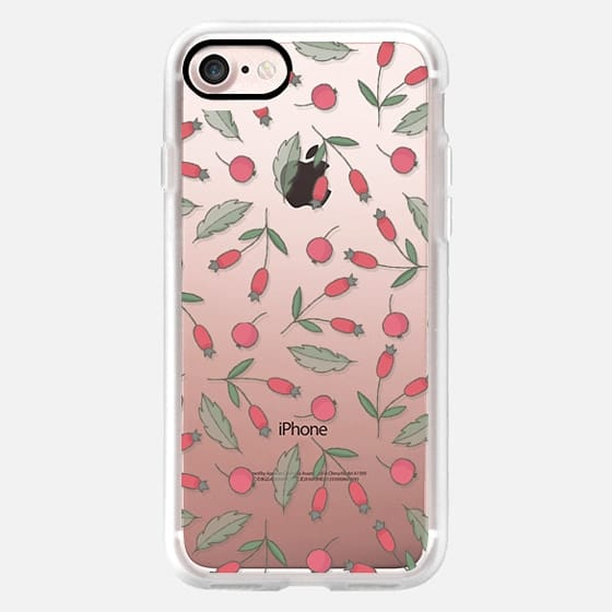 Vintage green leaves red berries floral pattern -