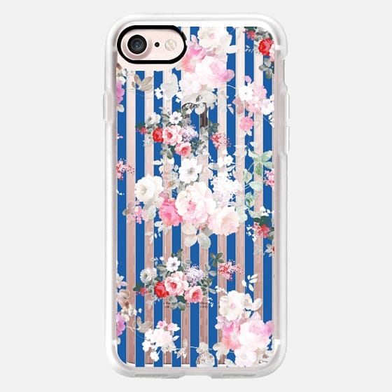 Vintage bohemian pink roses blue white stripes -
