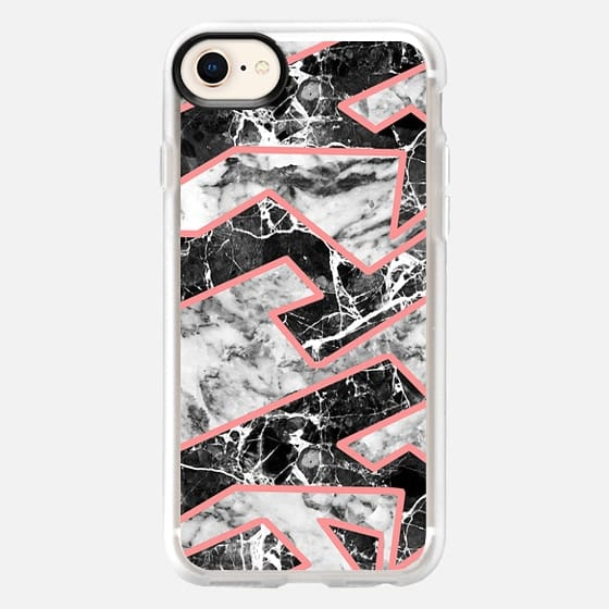 Modern abstract coral black white marble - Snap Case