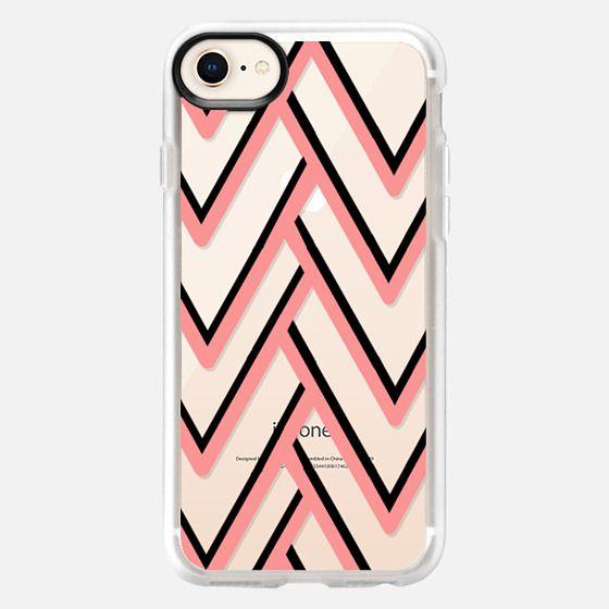 Modern pink black geometrical zigzag chevron - Snap Case