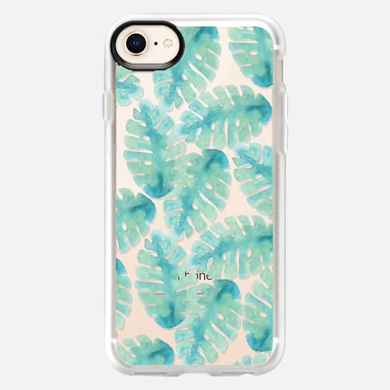 Modern hand painted green watercolor tropical leaves - Snap Case