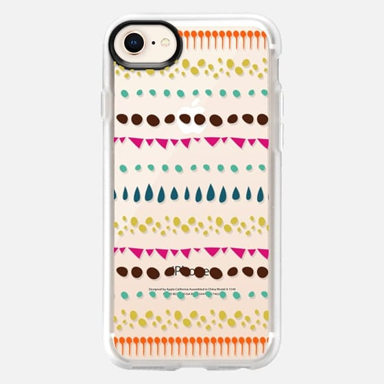 Modern colorful pink orange polka dots stripes - Snap Case