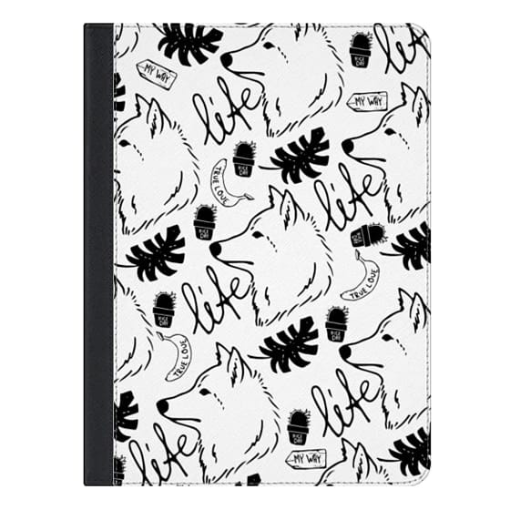 9.7-inch iPad Covers - Black white hand drawn wolf floral typography