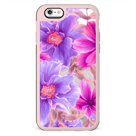 Elegant pink violet hand painted watercolor  tropical floral