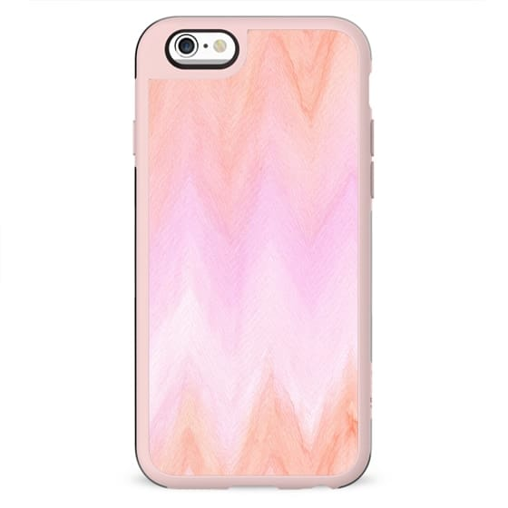 Geometric hand painted coral pink watercolor ikat chevron