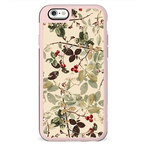 Vintage ivory red green forest berries floral