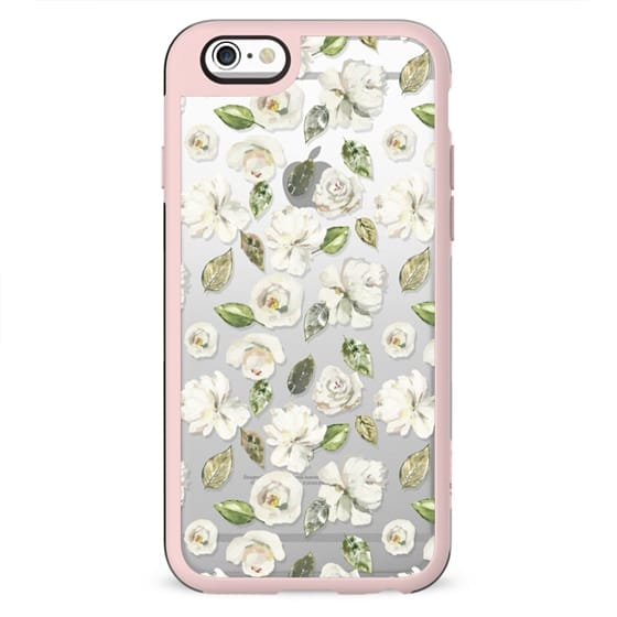 Modern off white green watercolor hand painted floral