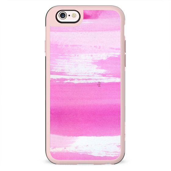 Blush pink white watercolor brushstrokes stripes