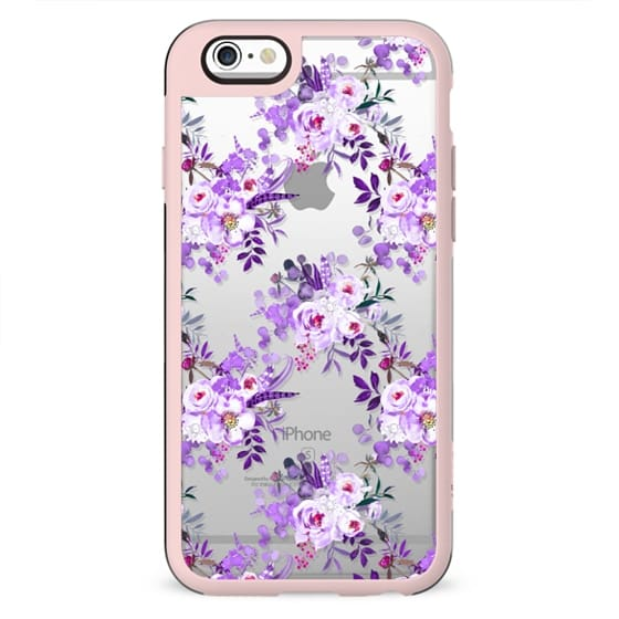 Ultraviolet lilac watercolor hand painted floral motif