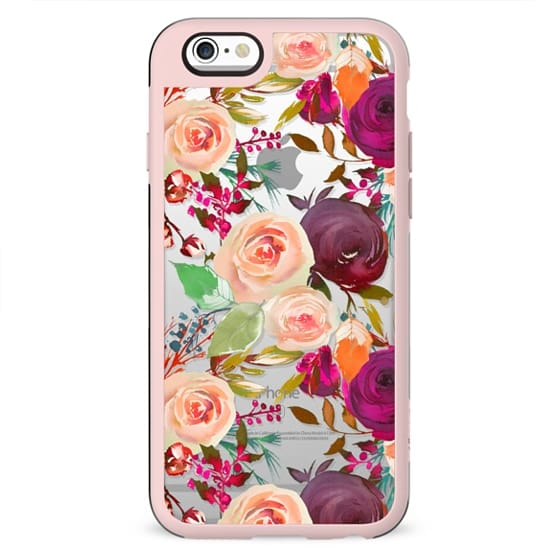 Modern fuchsia pink coral green watercolor roses
