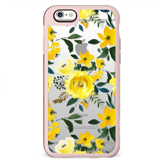 Hand painted modern yellow green watercolor floral