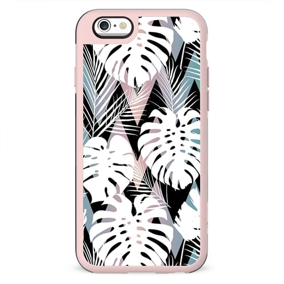 Blush pink green white hand painted tropical leaves chevron