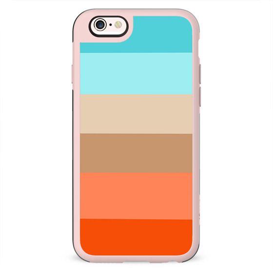 Modern orange aqua sand color block stripes