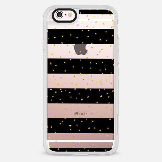 Black white gold faux glitter stripes dots - New Standard Case