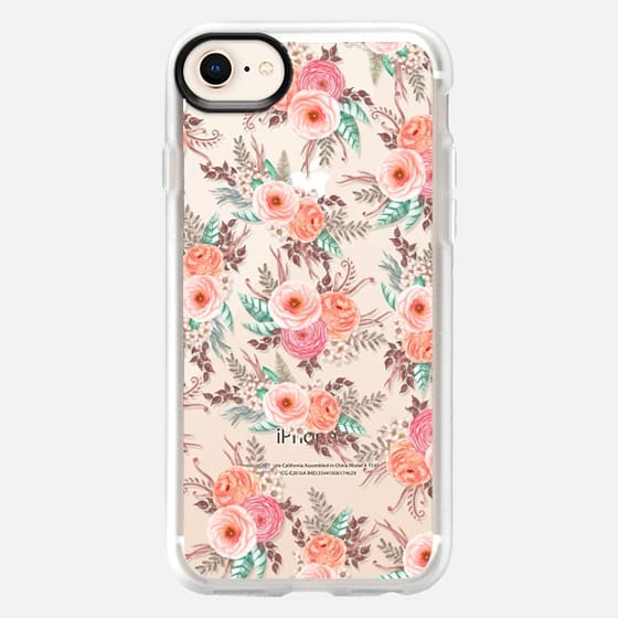 Elegant chic pink coral watercolor roses flowers pattern - Snap Case