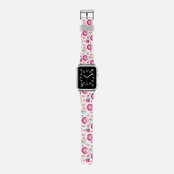 Modern sweet pink teal donuts cupcake dots pattern -
