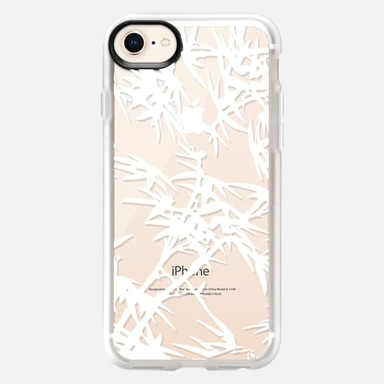 Modern hand drawn white tropical bamboo plants - Snap Case