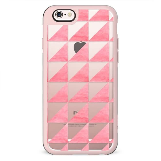 Modern geometrical hand painted pink watercolor triangles