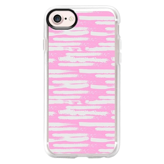 iPhone 7 Plus Cases - Hand painted pink  gray brushstrokes stripes pattern