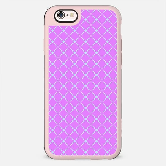 Pink teal abstract geometric polka dots diamonds pattern