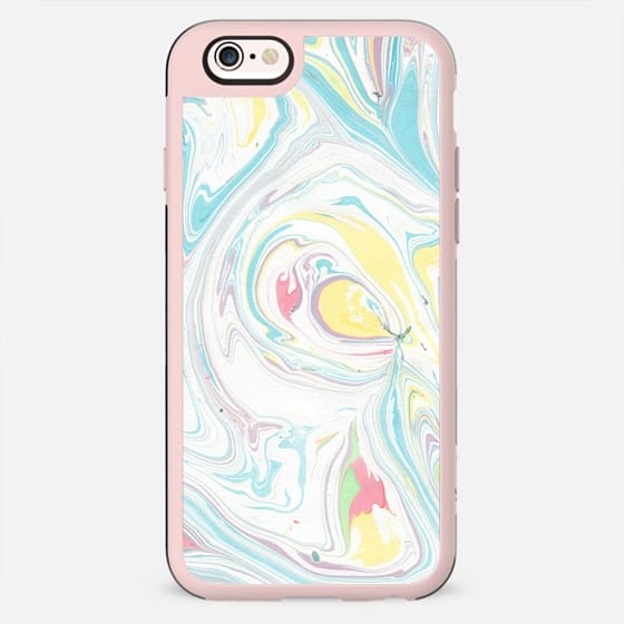 Modern abstract blue yellow white watercolor marble - New Standard Case