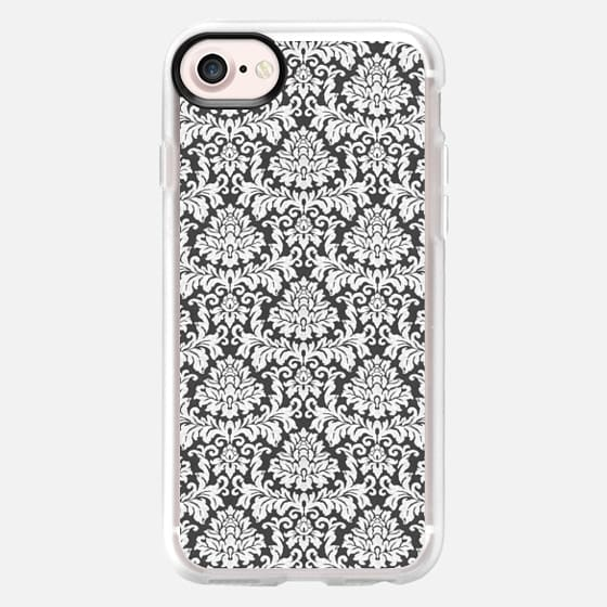 Vintage black white chic elegant floral damask - Classic Grip Case