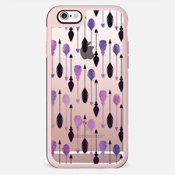 Modern chic black purple watercolor bohemian arrows feathers - New Standard Case