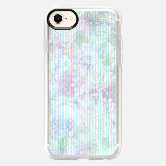 Vintage pastel pink lavender teal floral stripes - Snap Case