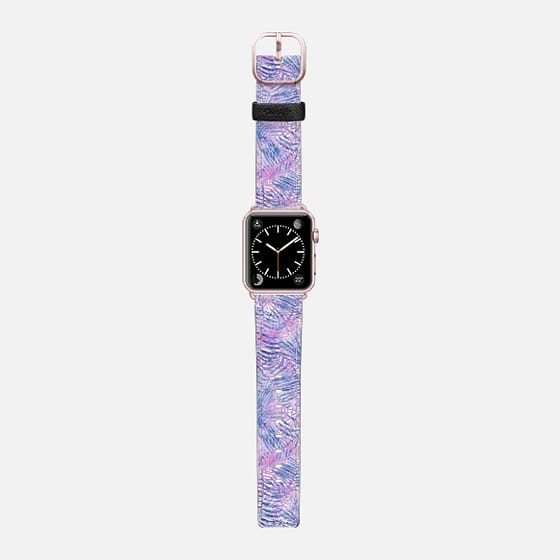 Modern blue blush pink watercolor hand painted floral - Saffiano Leather Watch Band