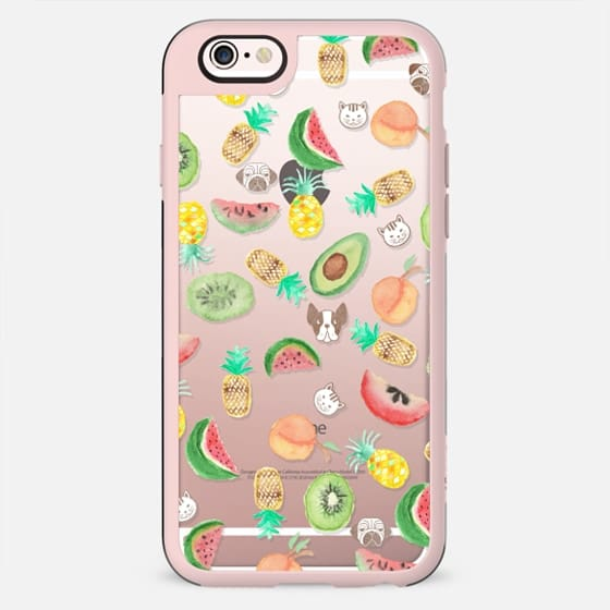 Pink lime green watercolor tropical fruit cute pattern - New Standard Case