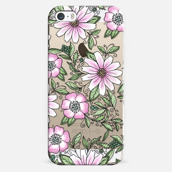 iPhone 5s Case - Blush pink green watercolor hand painted floral