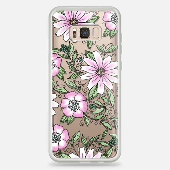 Galaxy S8+ Case - Blush pink green watercolor hand painted floral