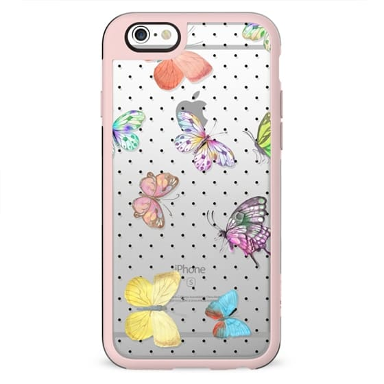 Colorful pink teal watercolor hand painted butterfly polka dots