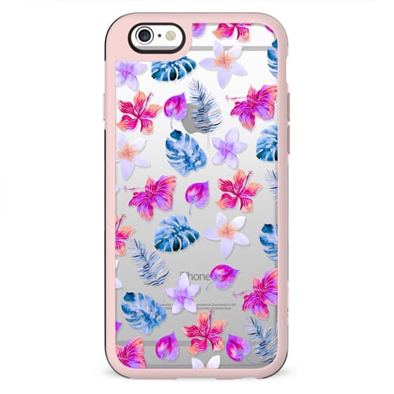 Pink blue lavender watercolor hand painted tropical floral