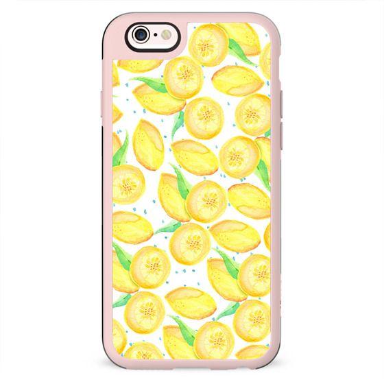 Sushine yellow orange blue watercolor lemon fruit pattern