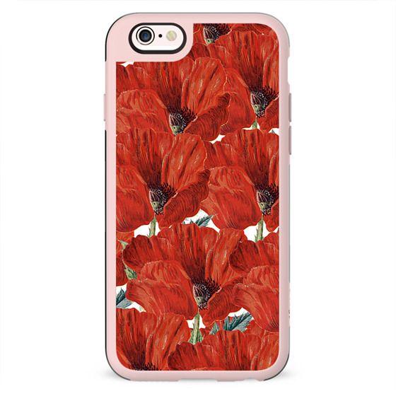 Vintage red orange poppy floral pattern
