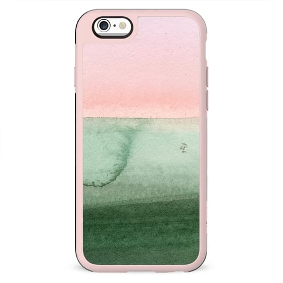 Hand painted pink green gradient watercolor
