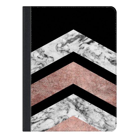 9.7-inch iPad Covers - Modern rose gold black white geometric marble