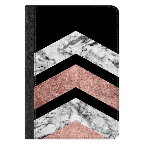 iPad Mini (2019) Covers - Modern rose gold black white geometric marble