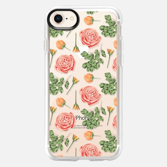 Bohemian vintage orange coral green roses flowers - Snap Case