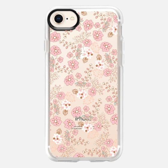 Vintage pastel pink brown chic country flowers - Snap Case