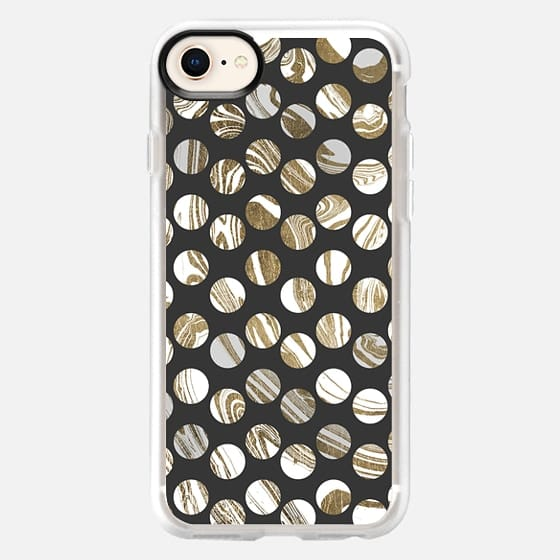 Modern black  white faux gold marble polka dots - Snap Case