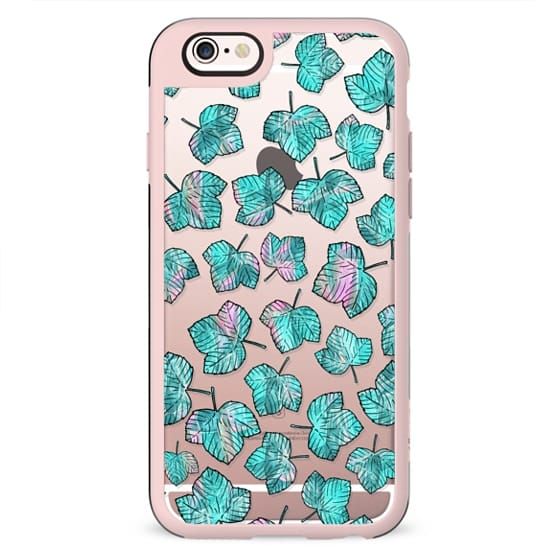 Modern pink teal watercolor maple leaves foliage