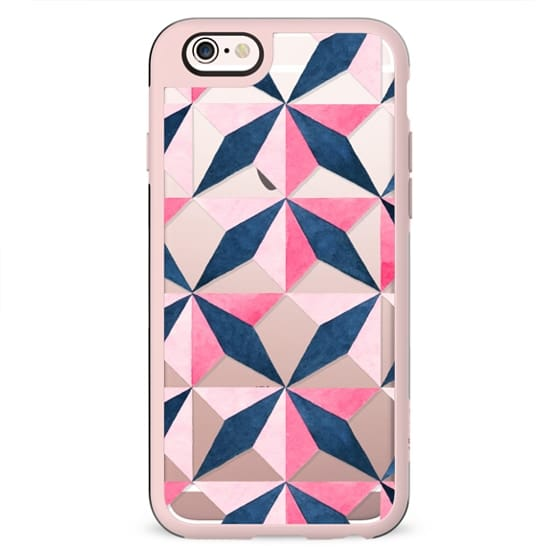 Geometrical hand painted pink blue abstract shapes