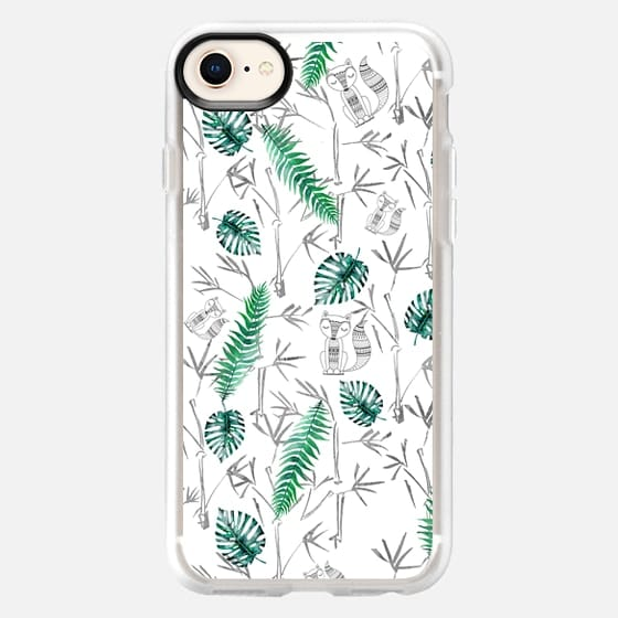 Gray bohemian animal green tropical bamboo leaves - Snap Case