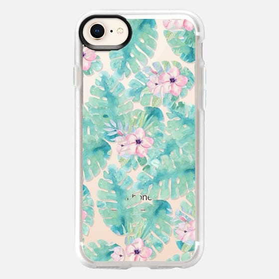 Modern tropical blush pink green watercolor floral - Snap Case