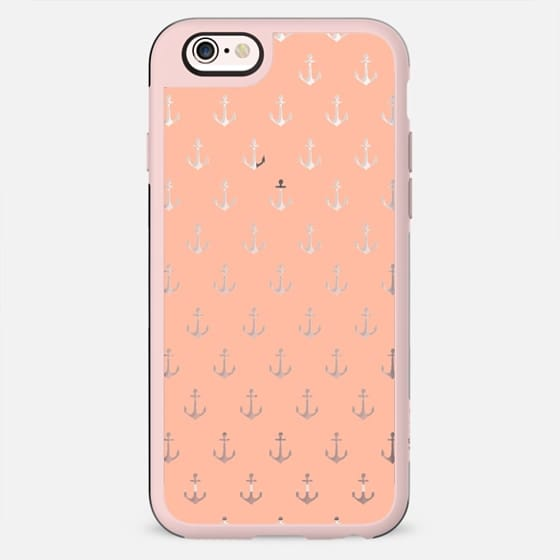 Coral white trendy modern nautical anchor pattern - New Standard Case