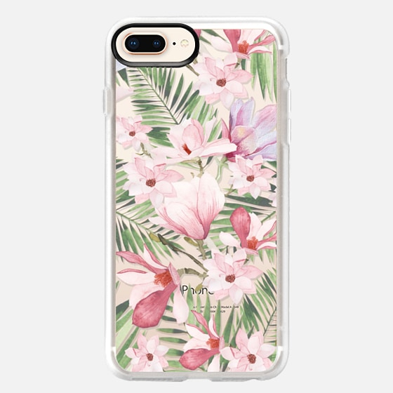 iPhone 8 Plus 保護殼 - Blush pink lavender green watercolor tropical floral