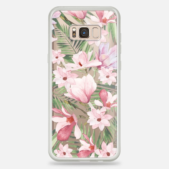 Galaxy S8+ 保护壳 - Blush pink lavender green watercolor tropical floral